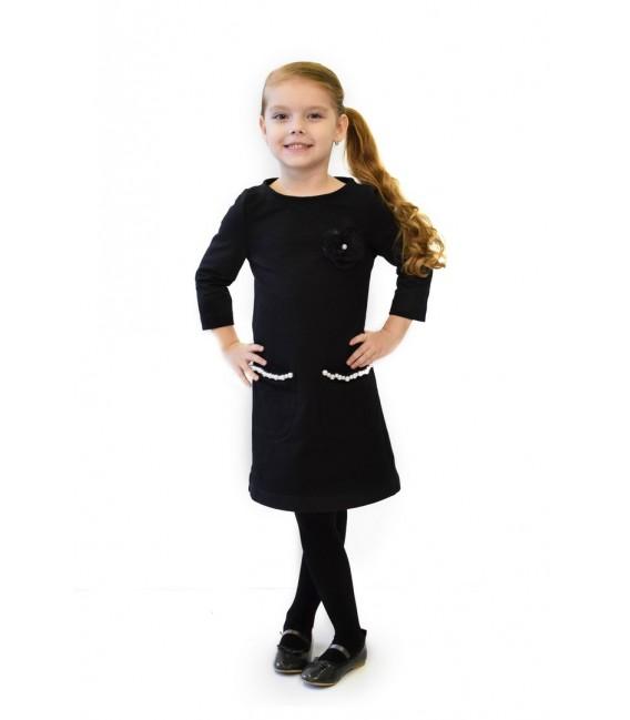 Dívčí černé šaty s perličkami