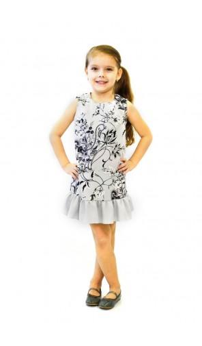 Dívčí šedé šaty s volánem
