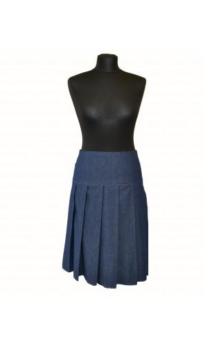 Dámská skládaná džínová sukně