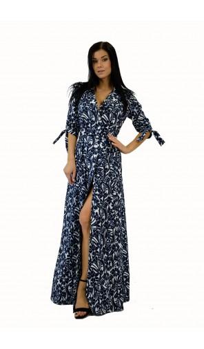 Dámské dlouhé šaty s bílomodrým květinovým vzorem