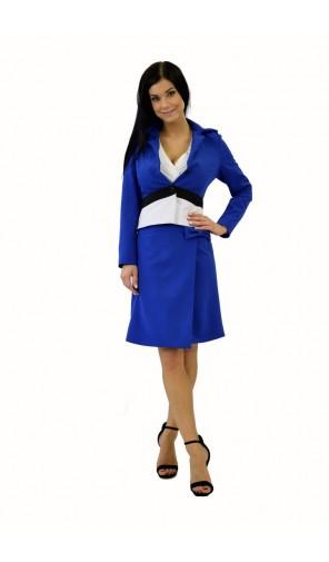 Dámské modré sako s našitým páskem