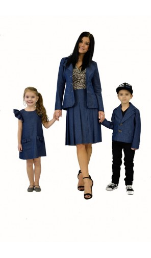 Dámské džínové ležerní sako s velkými klopami