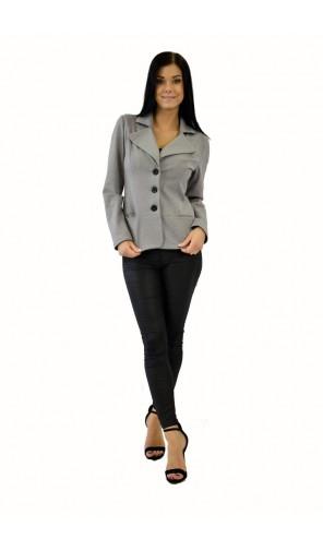 Dámské šedé ležerní sako s velkými klopami