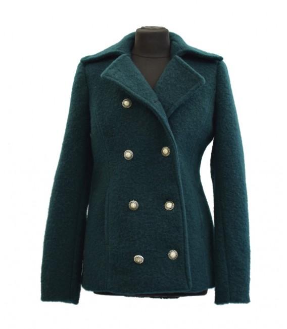 Vlněný dámský kabát s dvouřadovým zapínáním
