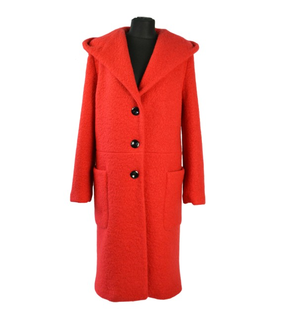 Dámský dlouhý vlněný kabát s kapucí