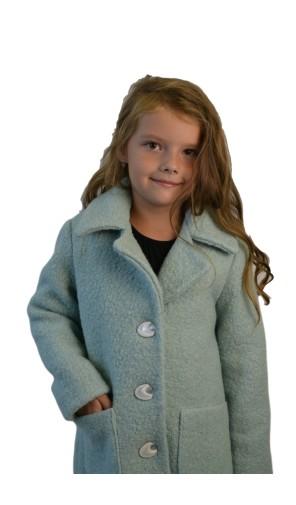 Dívčí prodloužený vlněný kabát