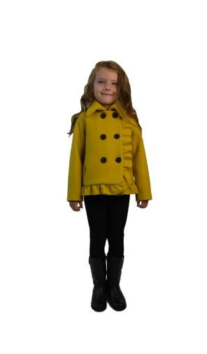 Dívčí vlněný kabát s dvouřadovým zapínáním