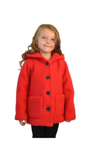Dívčí vlněný kabát s kapucí