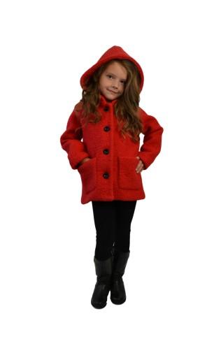Dívčí vlněný kabát s kapucí Exclusive