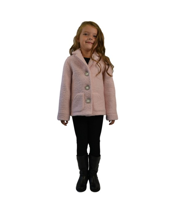 Dívčí vlněný kabát s fazonkou