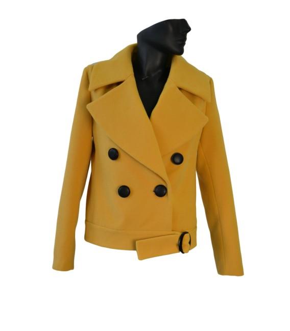 Dámský kabát kráký s velkými klopami