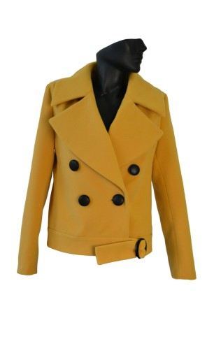 Dámský vlněný kabát krátký s velkými klopami Exclusive