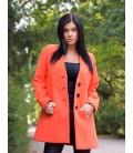 Dámský vlněný zimní kabát bez límce