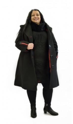Dámský vlněný zimní kabát pro nadměrné velikosti