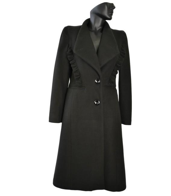 Dámský vlněný kabát s volánem Exclusive