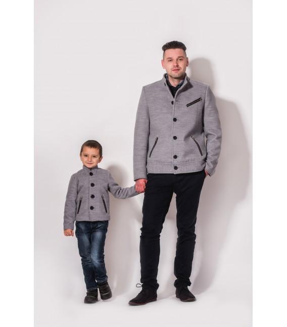 Chlapecký kabát se stojáčkem a ozdobnými zipy